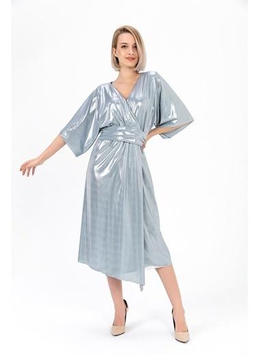 Tiffany&Tomato Parlak Kruvaze  Kalın Kuşaklı Midi Elbise-Vizon Mavi